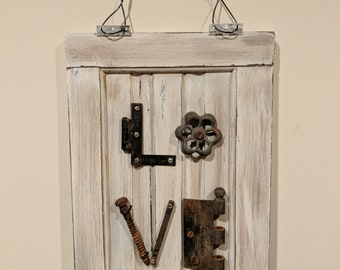 Sign - LOVE Wall Sign - Made from Recycled Cabinet Door and Old Rusty Tools - Wall Hanging - Art