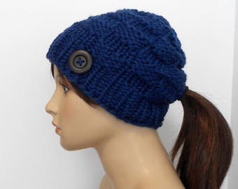 Chunky Knit Ponytail Hat Blue Beanie Pony Tail Hole Gift for Her Soft Wool Blend Winter Active Hat Alaskan Made Running Hat