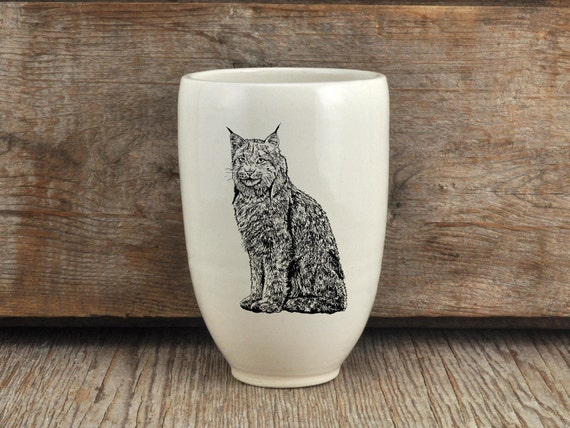 Handmade Porcelain beer tumbler with Canada lynx drawing Canadian Wildlife collection