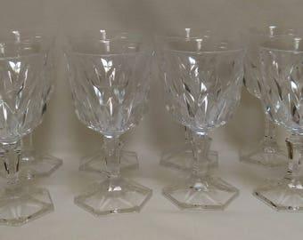 Set of 8 Crystal Wine Glasses, White wine Glasses, Water Goblets, Water Glasses (1341)
