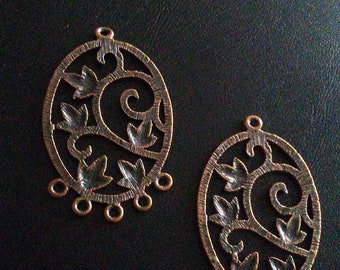 Three copper ivy pendants, 3 inches, free shipping