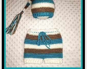 Newborn Baby Crocheted Shorts and Stocking Beanie in White/Caramel/Aqua