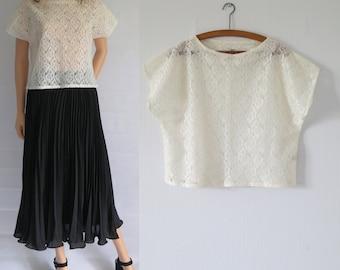 Cream lace top t shirt blouse shirt, slash neck, short cap sleeves, french retro vintage, sheer lace top, medium large