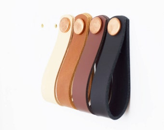 Large leather pulls, leather handles, leather pulls, leather door pulls, leather knobs, kitchen handle, natural leather loop, leather handle