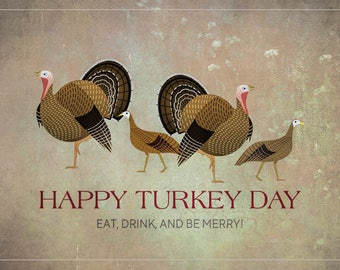 """Thanksgiving Card, Happy Turkey Day Card, Thanksgiving, 7"""" x 5"""", Eat, Drink And Be Merry, Instant Download, Printable"""