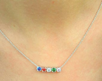 Birthstone Mothers Necklace-Birthstone Necklace-Mother Necklace-Family Necklace-925K Silver Zirconia Handmade Birthstone Necklace