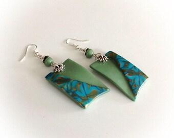 Earrings, rectangular, turquoise, light green.