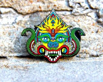 Rainbow Chinese Dragon Pin Hat Lapel Festival EDM Rave Snapback Psychedelic Acid Trippy