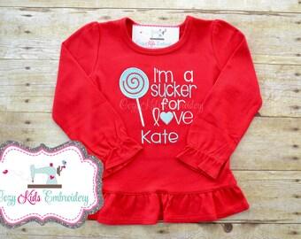 Valentine's Day Sucker For Love shirt girl child kid baby toddler infant custom personalized monogram name