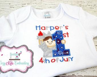 Fourth of July Shirt, 4th of July Shirt, Patriotic Shirt, Custom Applique Shirt, Girls Fourth of July Bodysuit