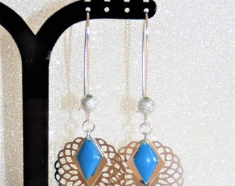 Earrings ' Silver geometric sequin Blue diamond and rose