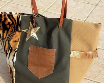 bag Tote made in france khaki/Tan Golden leopard/camel/star/fringes, camel leather handles