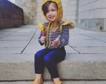 Crochet Pixie Bonnet / Child pixie bonnet / Vintage Style Bonnet / Fall Hat / Winter Hat