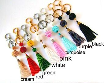 Tassel  keychains for women Purse charm Boho keychain Tassel Bag Charm Womens Gift Beads Keychain Beads bag charm Beaded Bag Charm