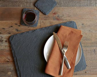 Slate Place Mat Set | Natural Dinner Table Place Mats And Coasters |  Various Size Sets