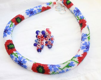 summer necklace necklace gift her birthday summer flowers red poppy poppy jewelry summer jewelry summer gift summer fashion blue flower