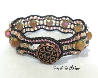 Wavy Cuff Bracelet, Beaded Leather Cuff, Wave Bracelet, Amber, Pink Copper,  Unique Jewelry, 3 Row Cuff, Wavy Beaded Cuff, Jewelry, Gifts
