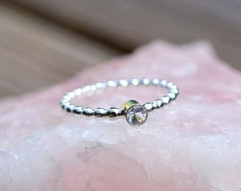White Topaz Sterling Silver Beaded Stacking Ring