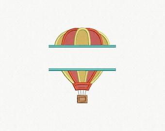 Split Hot Air Balloon Applique Machine Embroidery Design - 1 Size
