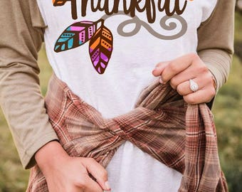 Thankful svg   thankful dxf   thankful shirt   womens thanksgiving shirt   feathers svg   thankful cursive svg   feathers dxf   watercolor
