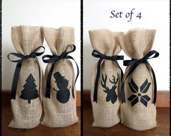 Set of 4 Christmas Wine Bags, Wine Gift Bags, Burlap Wine Bag, Hostess Gift, Holiday Wine Bag, Reindeer, Christmas Tree