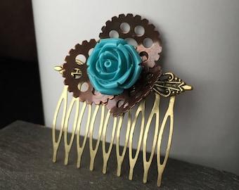 Festival Hair Comb Steampunk Flower Girl Hair Comb, Flower Girl Hair Accessories, Steampunk Hair Clip, Hair Comb, Blue Flower Hair Comb