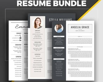 Professional Resume Template, CV Template,  Modern Resume Bundle, Creative Simple Resume, Cover Letter, Instant Download, MS Word, Stella WB