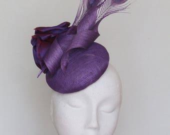 Purple Fascinator Ascot Hat - Zara