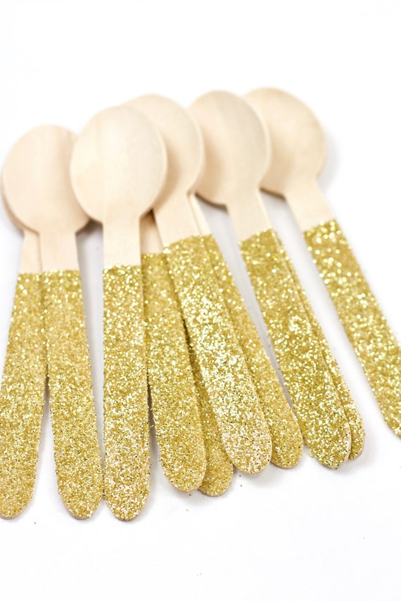 Wood Glitter Spoon, Gold Glitter Silverware Gold Glitter Utensils Disposable Party Supply Biodegradable Decorative Tableware Table Settings