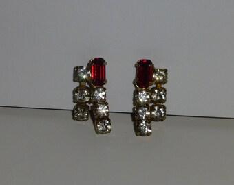 Clear and Ruby Red Rhinestone Earrings Screw Back