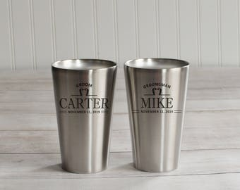 Stainless Pints - Set of 3 - Groomsmen Proposal - Beer Lover Gift - Groomsmen Beer Mugs - Insulated Cup - Stainless Steel - Craft Beer Gift