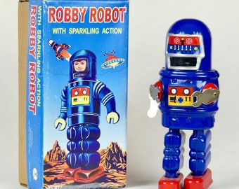 Robby Robot - Bleu et rouge  - Réplique de collection jouet vintage / Robby Robot - Blue and Red - Vintage Toy Collection Replica