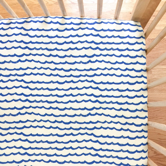 Crib Sheet - KUJIRA Waves in Cobalt - READY-to-SHIP