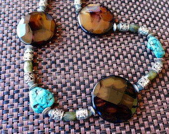 Large Turquoise Agate Nugget Necklace with Labradorite accents, Faceted Agate with Labradorite and silver tone accents.