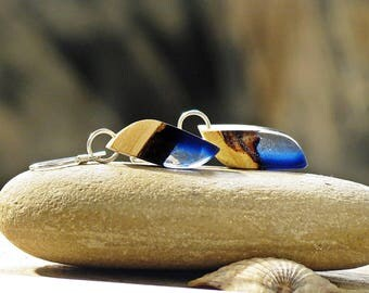 Wood Resin Earrings 5th Anniversary Wood Gift Wood Resin Jewelry Summer Earrings Beach Jewelry