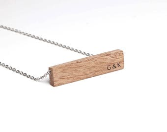 Couple Initials Bar Necklace, 5th Anniversary Gift for Her, Gift Necklace, Wood Gift for Wife, Personalized, 5 Years, Fifth Anniversary Gift