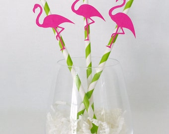 12 Flamingo Straws - Tropical - Flamingle - Aloha Beaches Bachelorette Party - Luau - Bridal Shower - Baby Shower - Pool Party - Birthday