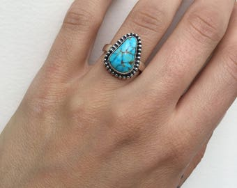 Turquoise and Sterling Silver Stacking Ring- Size 5.25