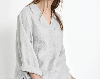 Natural linen top / linen tank top in V neck / Washed linen blouse / Kimono linen blouse / Linen tank top in grey ice blue