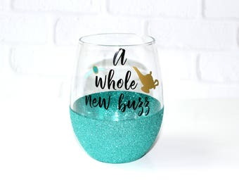 Disney Mom / Disney Wife Gift / Birthday Gift for Her / Princess Jasmine Wine Glass / A Whole New Buzz / Disney Bachelorette Party Gift