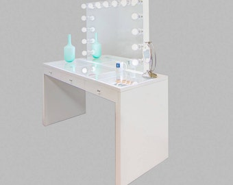 X LARGE Sparkling White Glass Top Fantasy Makeup Vanity Table U0026 Attachable  XL Dimming Hollywood