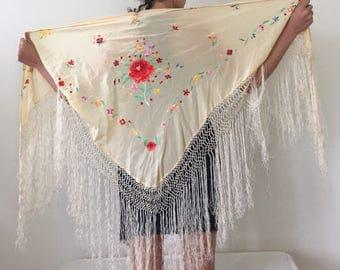 Antique Silk Shawl - Floral Embroidered Piano Shawl - Fringed Silk Wrap Shawl - Floral Embroidery Shawls - Cream Silk Shawl - Boho Hippie