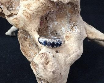 Platinum plated 5 stone Sapphire ring