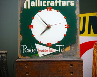 Rare 1940's HALLICRAFTERS Vintage Ham Radio Television Advertising Thick Glass Face Clock Sign Price Brothers Inc. Chicago New York Green