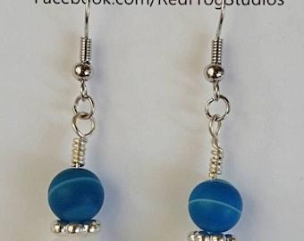 Blue Agate & Quartz Drop Earrings