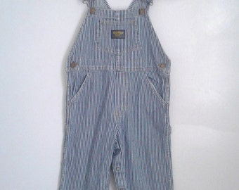 Vintage Kids' Oshkosh Blue White Engineer Stripe Denim Overalls Sz 4T Traditional Farmer Rustic