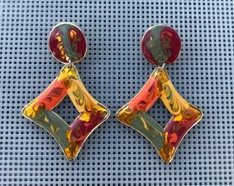 Vintage Boho Dangle Earrings // Abstract Geometric Enamel Earrings // 90s Dangle Earrings // Multi Color Swirl // Orange Yellow Red Green