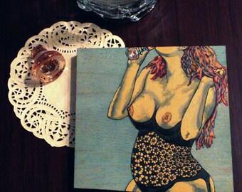 """Kim"" Pop Art Lingerie Painting [5x5"" acrylic on wood]"