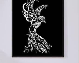 Arabic Calligraphy Print Rumi Persian Poetry - Arabic Calligraphy Bird - Modern Arabic Wall Art