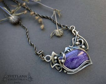 Wirewpapped necklace, Charoite silver necklace, Charoite necklace, Silver necklace, Charoite, Silver Jewellery, Wire jewellery, Wire wrap